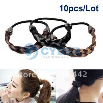 10pcs/Lot Fashion Korean Synthetic Hair Ponytail Holders Plaits Hair Circle Manual Twist Rubber Band