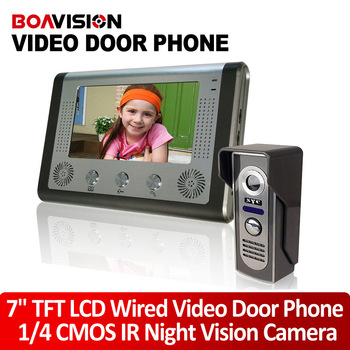 7 Inch Video Door Phone Doorbell Intercom Kit 1-camera 1-monitor Night Vision door camera with recorder
