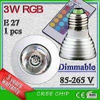 e27 3w 16 color rgb led light spotlight bulb lamp remote control ac 85-265v lampadas led spot 3 watt aluminum profile led lamp