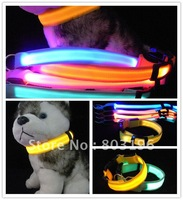 Free shipping 100pcs/lot Two Side Flashing Dog Collars Fashion LED Dog Collars 5 Colors for Choice