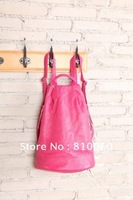 2014 new fashion women genuine leather backpacks girls travel bags free shipping candy colors pink black