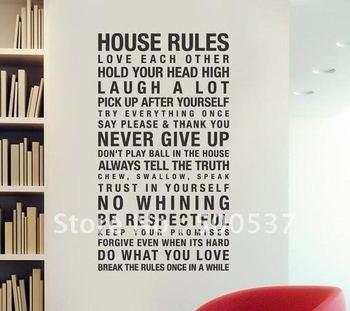Moda 60 * 120 cm vinilo cotización de la pared, reglas de la casa inicio decorativos de vinilo Mural arte pegatinas de pared, venta caliente, 20 unids