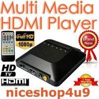 HDMI 1080P AV USB Remote Control Mini HDTV Multi-Media Player SD MMC Card Socket