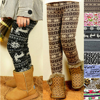 Girls Winter Thick Velvet Leggings, Baby Print Fleece Casual Pencil Pants, Skinny Boot Cut Trousers, Children's Clothing