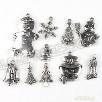 Free Shipping Christmas 60pcs/lot Charms Assorted Zinc Alloy Antique Silver Tone Metal Pendant Fit Handcraft DIY 142766