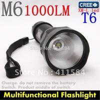 M6 CREE XM-L T6 LED Light  AluminumTorch  5 MODE  Flashlight POWER BY 18650