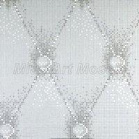 [Mius Art Mosaic] Pure White & mirror silver mix art glass mosaic mural wall decoration KL010