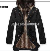 Faux Fur Lining Men's Fur Coats Winter jacket / overcoat /Warm Long Coat Jacket Men Clothes Wholesale S,M,L,XL,XXL
