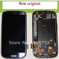 DHL free shipping Touch Screen Digitizer LCD Full Assembly Frame For Samsung Galaxy S3 i9300 Blue