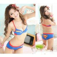 Free Shipping CU50# Women Superman Sexy Underwear Sets Girls Cotton Bra Set Sports Lingerie Underwire Bra And Briefs AB cup