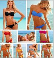Fashion Brand woman Sexy bikini with PAD Hot swimsuits Ladies swimwear beachwear 5 color,solid color bikini set