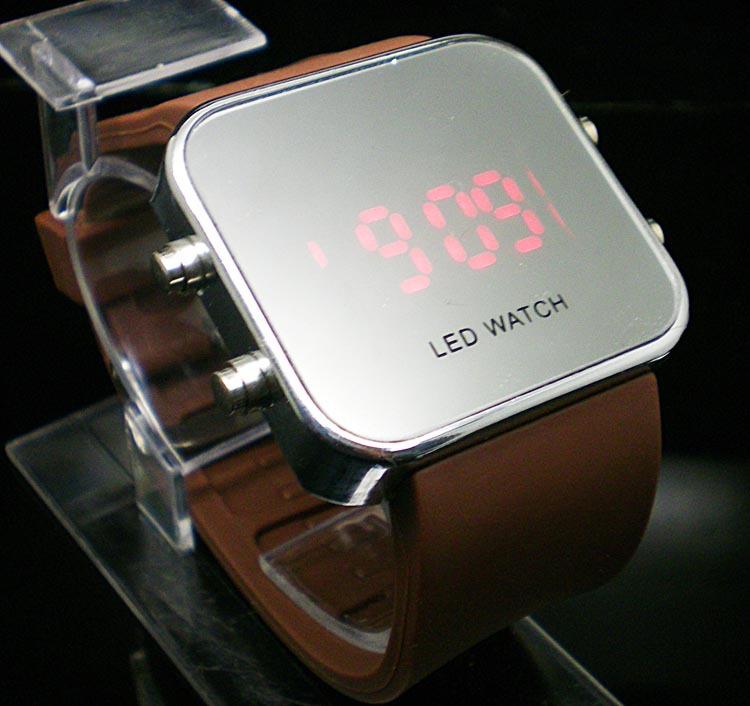 wholesale fashion Silicone Led Digital watch ,men women LED mirror wrist watch LE21(China (Mainland))
