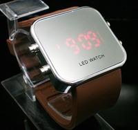 wholesale fashion  Silicone Led Digital watch, men women LED mirror  wrist watch  LE21