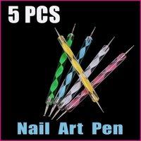 5 sets/lot 5PCS  2-ways Colorful Nail Tools Nail Art Dotting Tools Painting Marbleizing Pen Wholesale