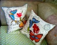 Free Shipping wholesale New arrival Printing and Butterfly  emboridery pillow cover cushion cover 38x38cm 2 colors 2pcs/lot