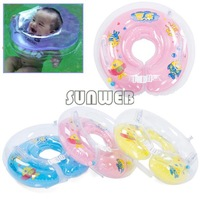 New Plastic Baby Kids Infant Adjustable Swimming Neck Float Ring Safety Green, Orange Free shipping 4399