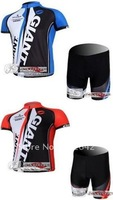 Brand New Tour de France GIANT 2 color (Blue & Red) Short Sleeve Cycling Clothing / Bike Wear Shirt + Shorts Sets. Free Shipping
