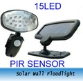 Freeshipping 2PCS Outdoor Solar PIR Sensor 15 LED Security Wall Floodlight lamp solar light