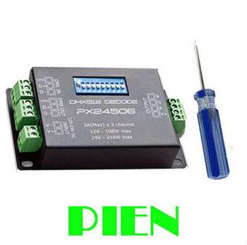 DMX512 decoder PX24506 led controller 9A DMX 512 Amplifier 12V~24V for 5050 RGB led strip light Free shipping 5pcs