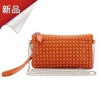 Free Shipping Wholesale 2012 fashion cow leather handbag hot  sales banquet bag  rivet  shoulder bags women's bag   many colors
