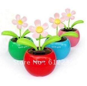 Free shipping Swing Flip Flap Solar Flower 5pc four color Available Car Decoration Case PVC pack Solar-powered apple flower Doll