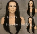 "24""Black Brown #2 Long Lace Front Wig Wigs with Slight Body and Layers free shipping"