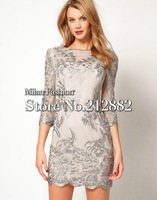Free Shipping Perfect Embroidered Lace 3/4 sleeves Dress (Size uk8-16)