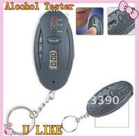 20PCS new arrival mini Alcohol Breath Tester Breathalyzer with Flashlight LED indicators key ring free shipping