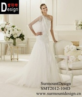Hot saleIvory One Shoulder Tulle with Lace Appliques skirt wedding dresses Style