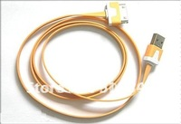 20pcs/lot for iphone 3g 4g 4s ipad ipad 2 colorful flatness usb cable sync data and charger cable drop shipping