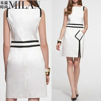 2012 Autumn New England Wind OL commuter simple spell color pencil dress