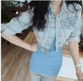 2013 New Hot Fashion Korea Jean Jacket Leisure  Ablazely Cowboy Small Mini Coat Free Shipping ET55