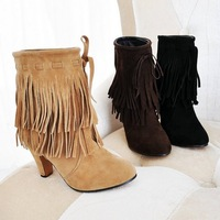 Big size US 4-15  2013  New Arrived Pointed Toe high heels Slip-On Tassel Faux suede autumn winter boots pumps shoes ST-306