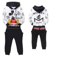 3 sets/lot Cute baby mickey clothing set (hoodies+pants) children boys autumn suits fashion infant wear wholesale