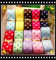 Free shipping Grosgrain Ribbon sets 7/8'' (22mm) ribbon printed with dots (10 colors mixed)  30 yards/lot