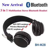 NEW 3 in 1 Wireless Stereo bluetooth mp3 Earphone and headphone BH-M28