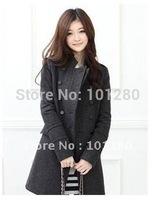 Free shipping 2014 new women plus size jacket winter double breasted wool coat  warm slim outerwearT132