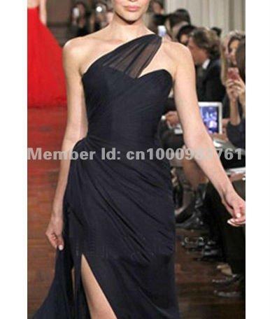 Shoulder Chiffon Dress on Runway Chiffon One Shoulder Designer Ball Prom Gown Long Evening Dress