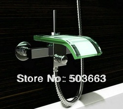 Free Shipping Wall-mounted Waterfall Glass Mixer Tap Bath Tub Faucet CM0319(China (Mainland))