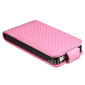 PU Leather Case for Apple iPhone 4S AT&T / Verizon / Sprint, Pink Carbon Fiber(China (Mainland))