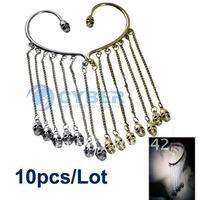 Free Shipping 10pcs/Lot New Retro Gothic Punk Skull Dangle Ear Cuff Chains Tassels Earring No Piercing
