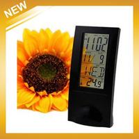 Multifunctional clock calendar thermometer alarm clock LCD lazy creative +Free Shipping