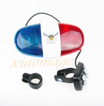 Bicycle Horn Bike Bell Bike LED Light With 4 Sounds  6 LED Light For Police Alarm