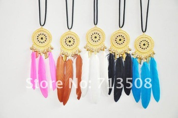 hot sale native american indian style alloy dream catcher necklace feather necklace