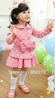Hot sell ,New autumn /spring baby girl's bow long sleeve top coat+skirt 2pcs cloting set ,(5pcs/lot)