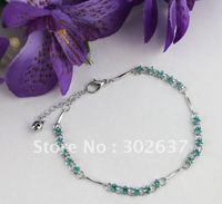 12PCS Skyblue Rhinestone Stick Chain Anklets #21956
