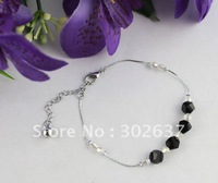 12PCS Black/clear Glass Beaded Chain Anklets #21982