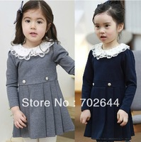 New autumn  fashion baby girl's Long sleeve Lace collar  dress ,children's clothes ,5pcs/lot