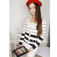 New Single-Breasted Long Autumn Clothing Knit Sweater/Knitwear With Stripe And Preppy Style (New Coat) -55823
