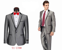 Men's brand business suit handsome wedding suit (coat+pants) Black Gray
